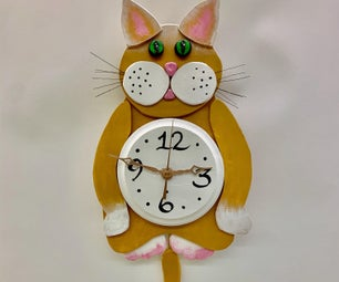 Cat Clock W/fish