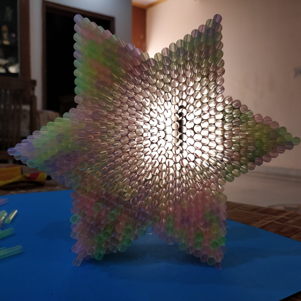 How to Make 3D Star Out of Drinking Straw!