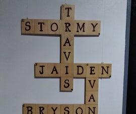 Wooden Family Name Crossword Sign