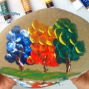 Finger Painting Colorful Trees on a Stone