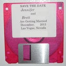 Wedding 'save the date' disk with hidden message