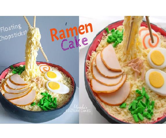 Ramen Cake with Floating Chopsticks