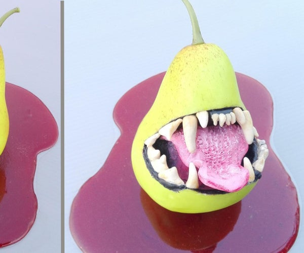 How to Make Halloween Zombie Pear in Faux Blood   Halloween Resin Art   Diorama