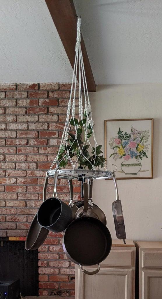 Bicycle Wheel to Hanging Pan Rack