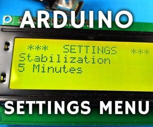 Arduino Settings Menu