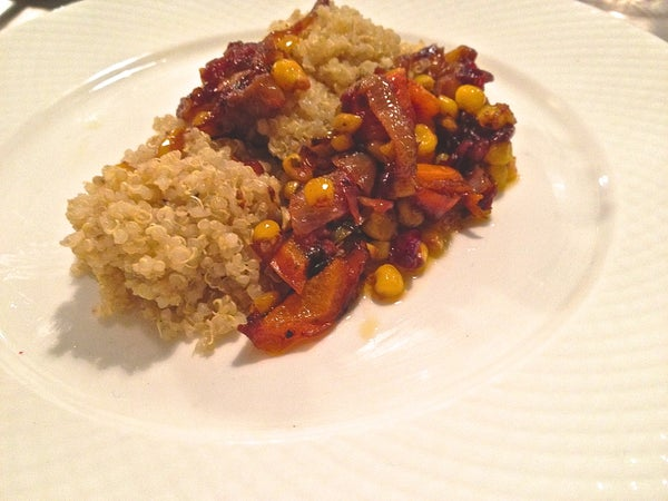QUINOA WITH SAUTE VEGETABLES IN a REDUCED BALSAMIC VODKA SAUCE