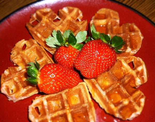 Belgian Waffles With a Coconut Oil/cream Cheese Twist (Valentine's Day Edition)
