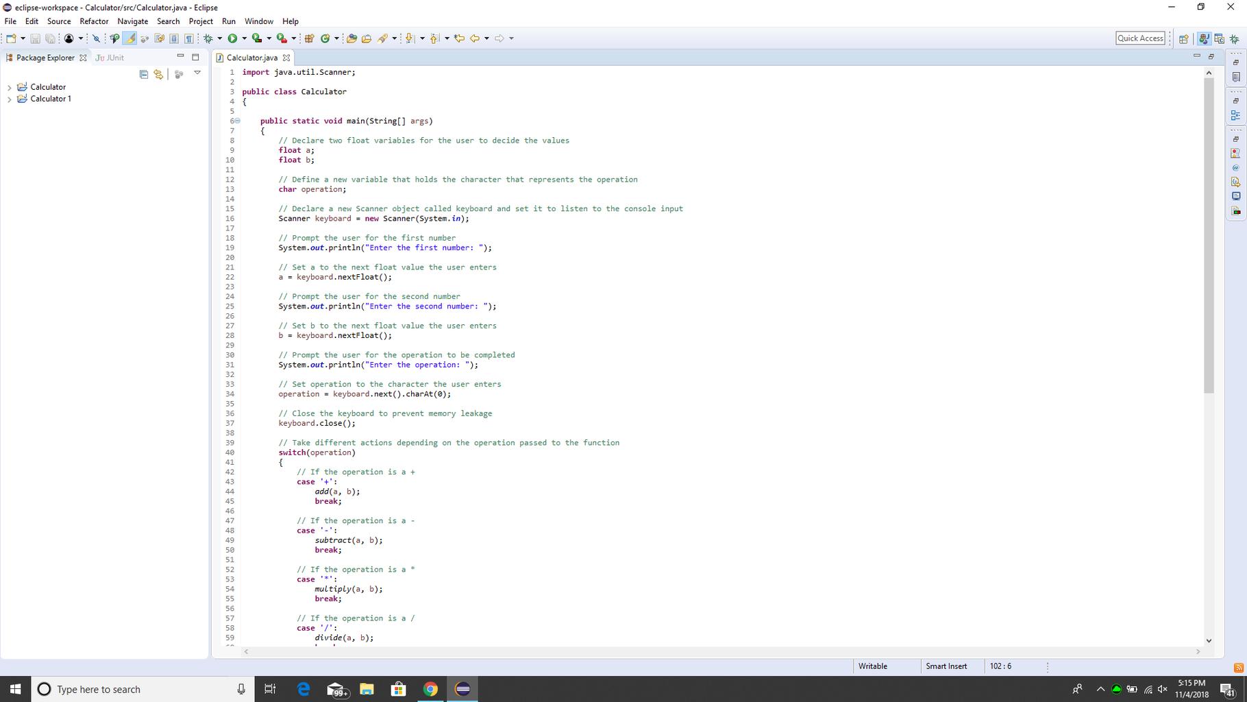 Simple Java Calculator Intro