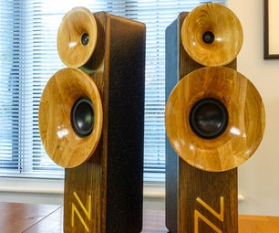 Horn Loaded HiFi Speakers - Oak With Brass Inlay