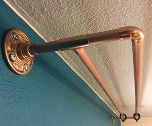 管道部件的拉丝铜窗帘杆