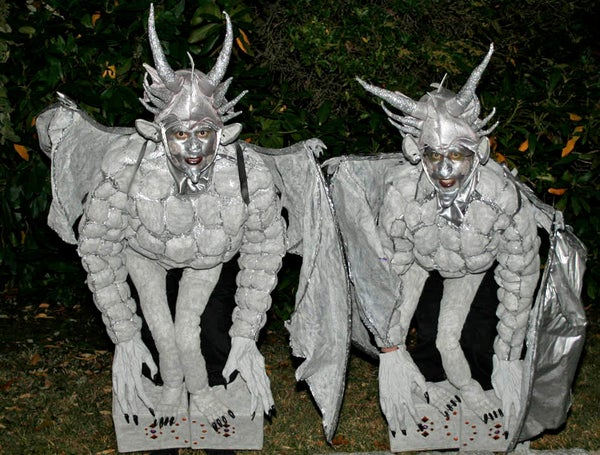 Medieval Gargoyles Perched on Stone Pedestal Costumes