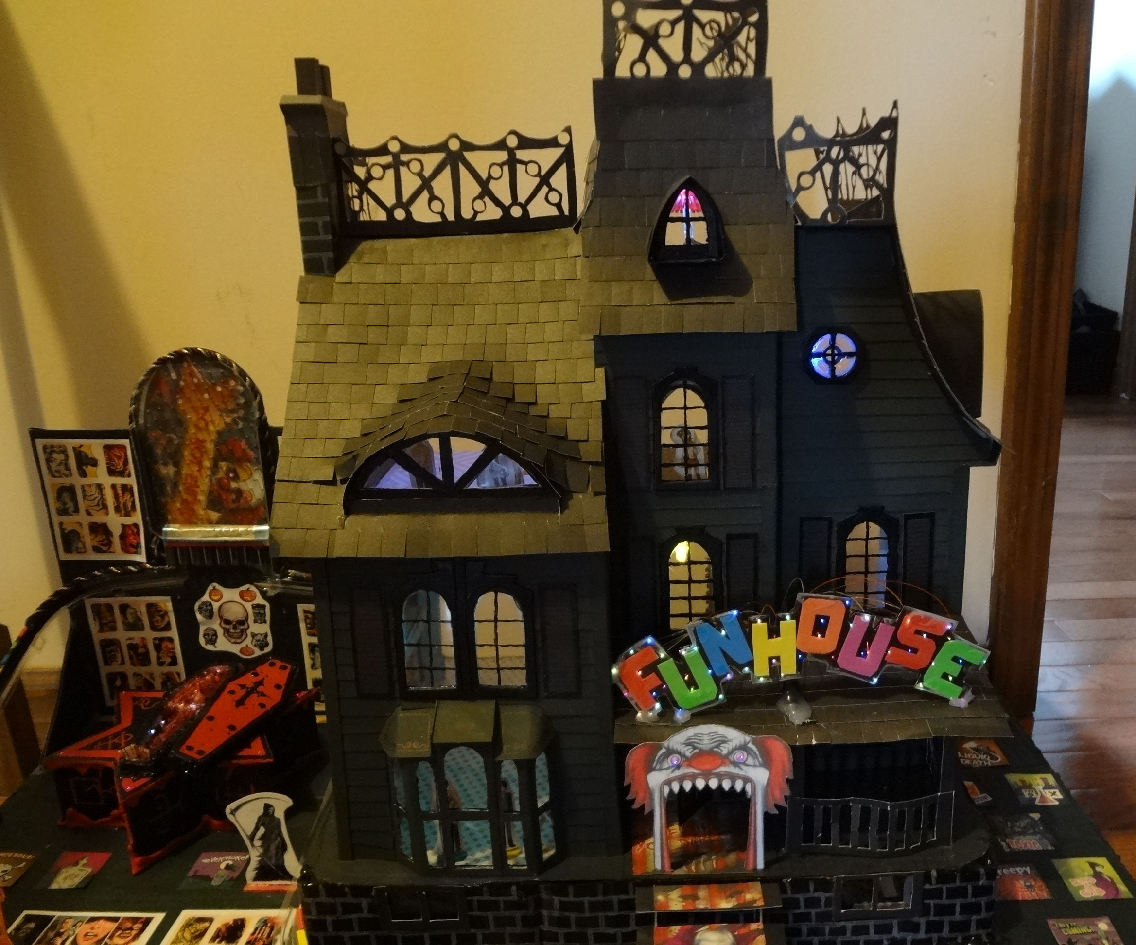 Cardboard Haunted House with lights.
