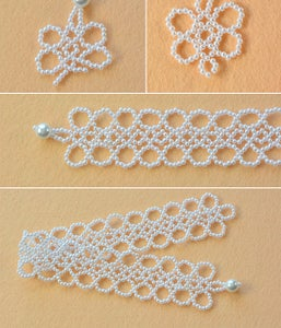 Make the Third Part of White Pearl Beaded Collar Necklace
