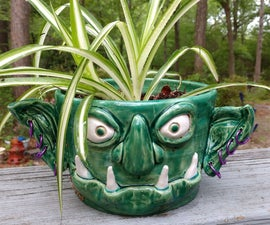 Pierced and Sculpted Goblin Planter Out of Clay