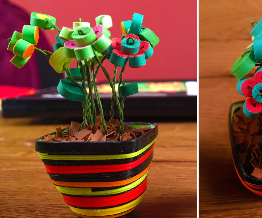 Miniature quilled flower pot