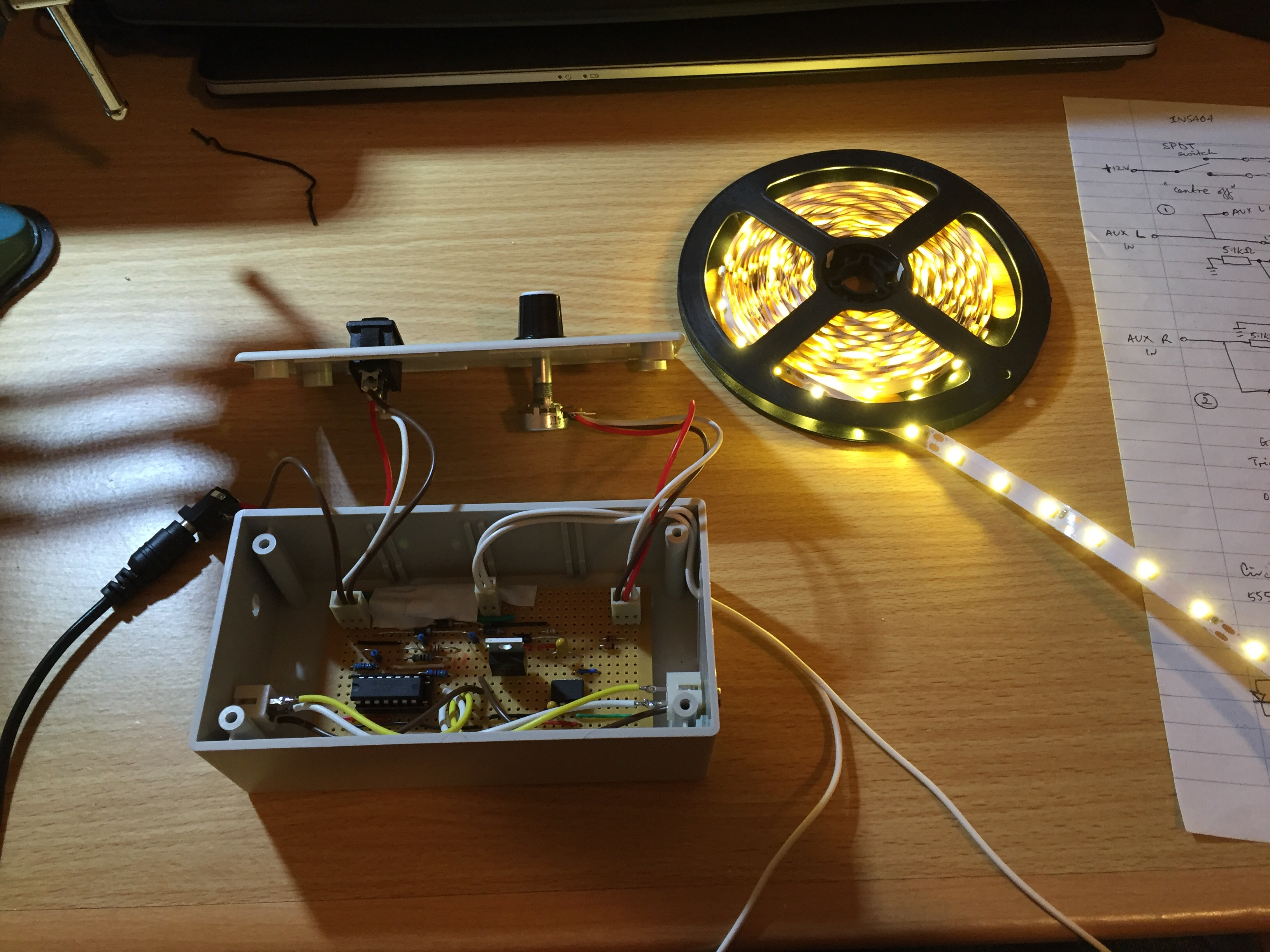 LED Strip Control With Dimmer And Audio Pulsing Circuits