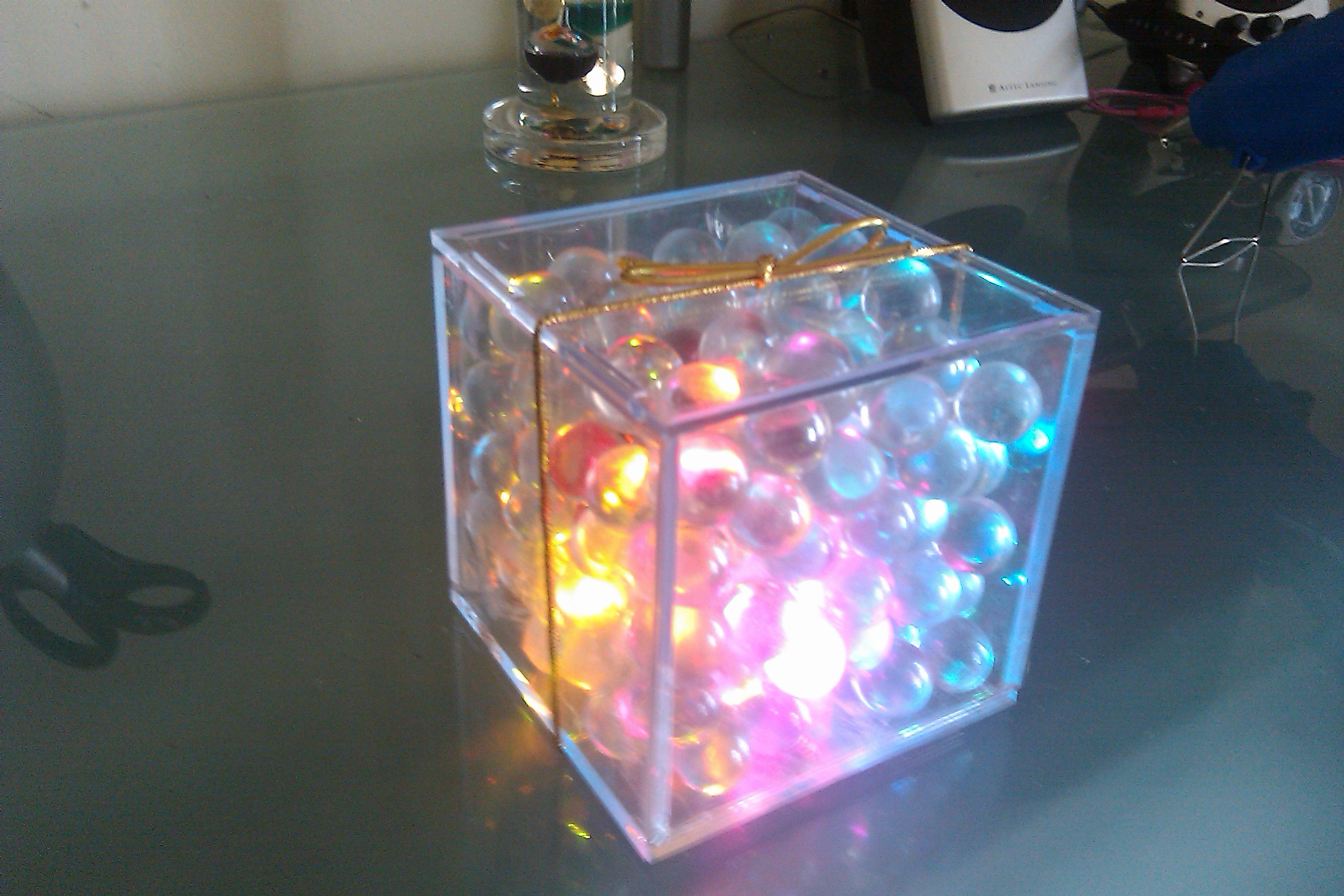 Tilt activated LED glow cube