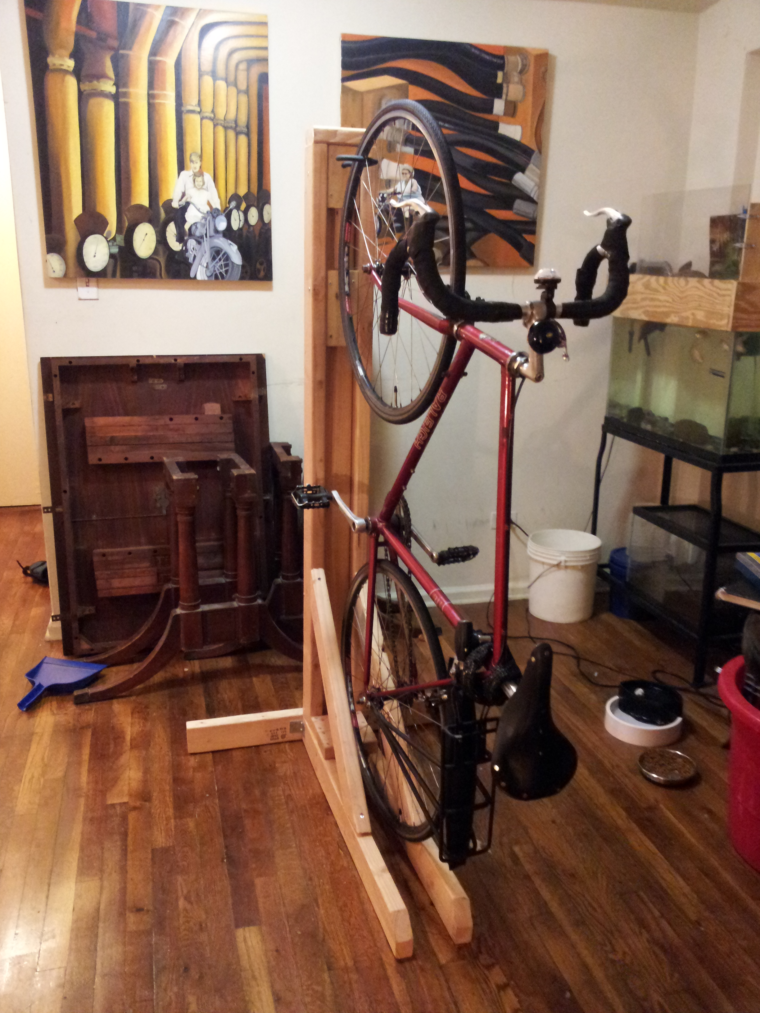 Vertical Bike Rack from 2x4s (single bike)