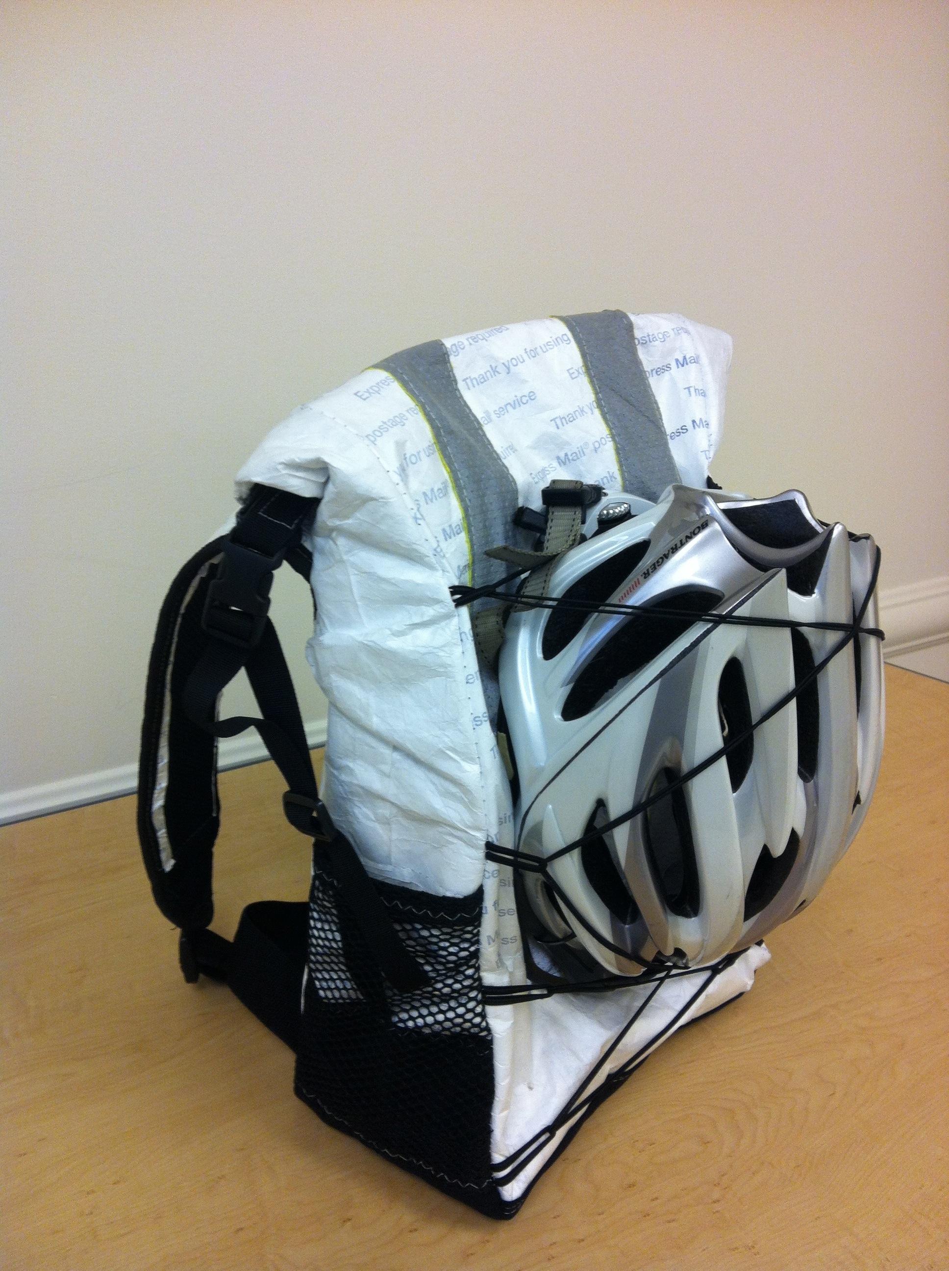 Tyvek Roll top backpack made from USPS Tyvek Envelopes.