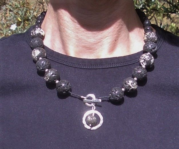 Silver Clay Lavastone Beads