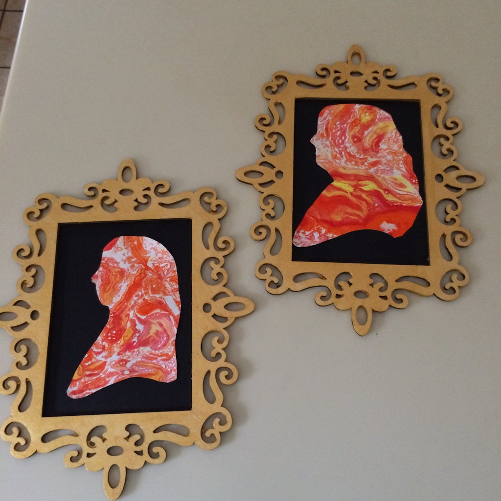 Marbleized Cameo Silhouettes