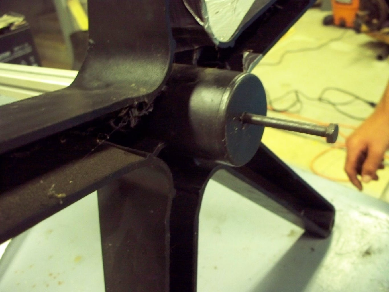 Inserting the Pipe Into the Chair Platform
