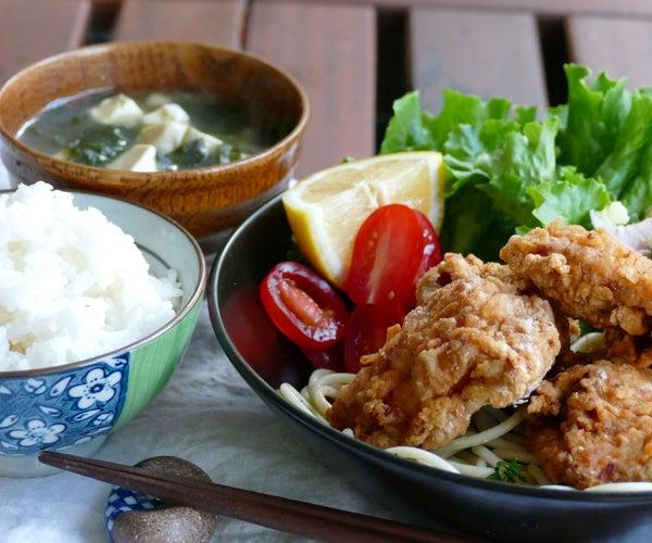 Crunchy Karaage (fried Chicken), Potato Salad, Seaweed Soup