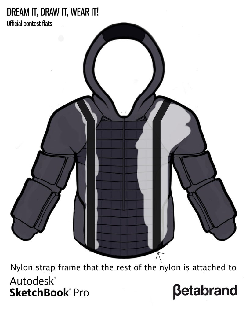 Detailed Description of Hoodie [Nylon Frame]