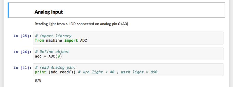 Analog Input (measuring Luminosity)