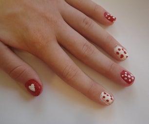 Polka Dots and Hearts Nails