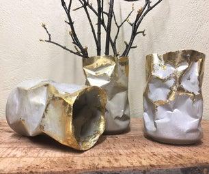 Crumpled Concrete Vases