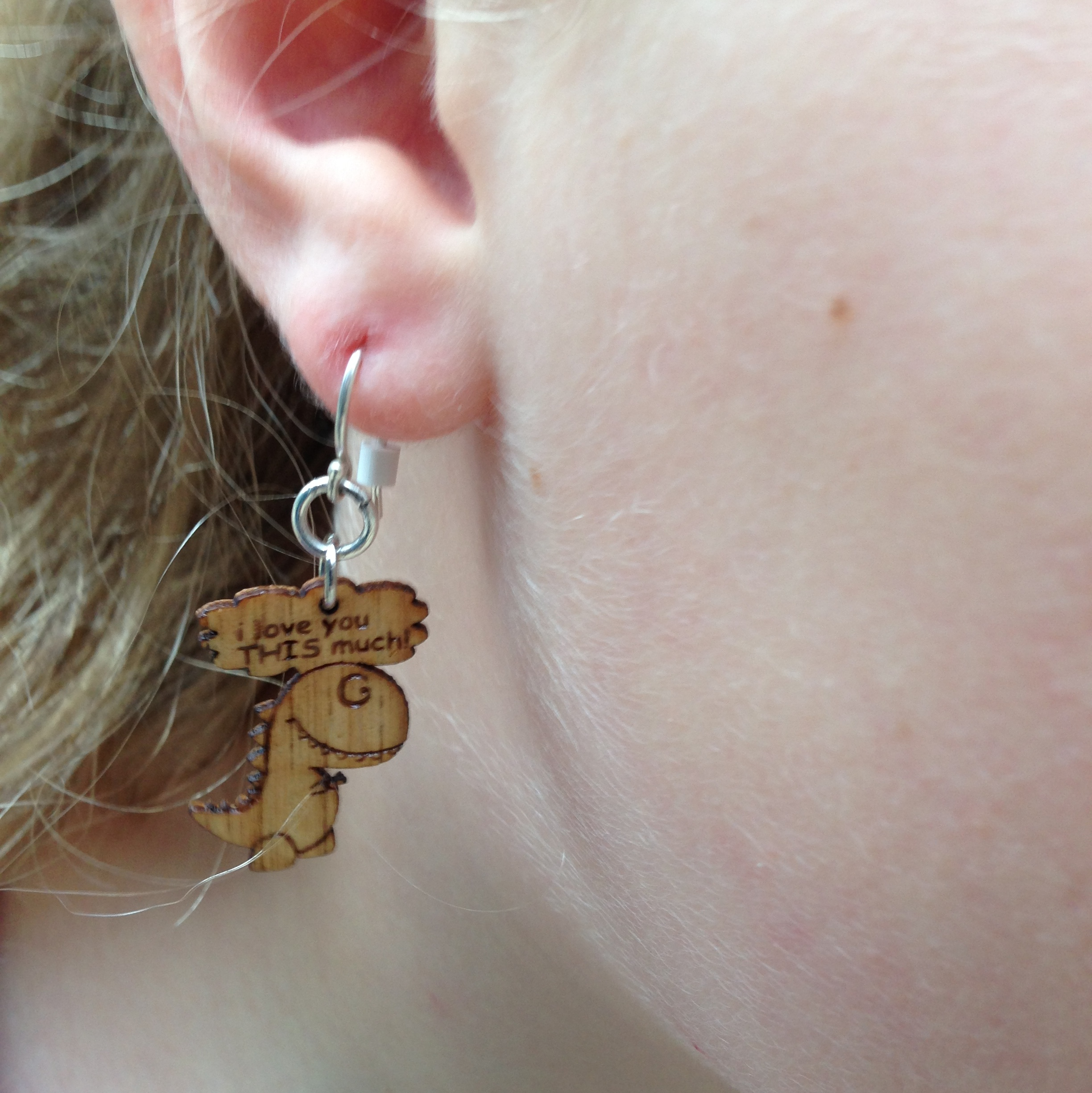 """""""I Love You This Much"""" wooden earrings"""
