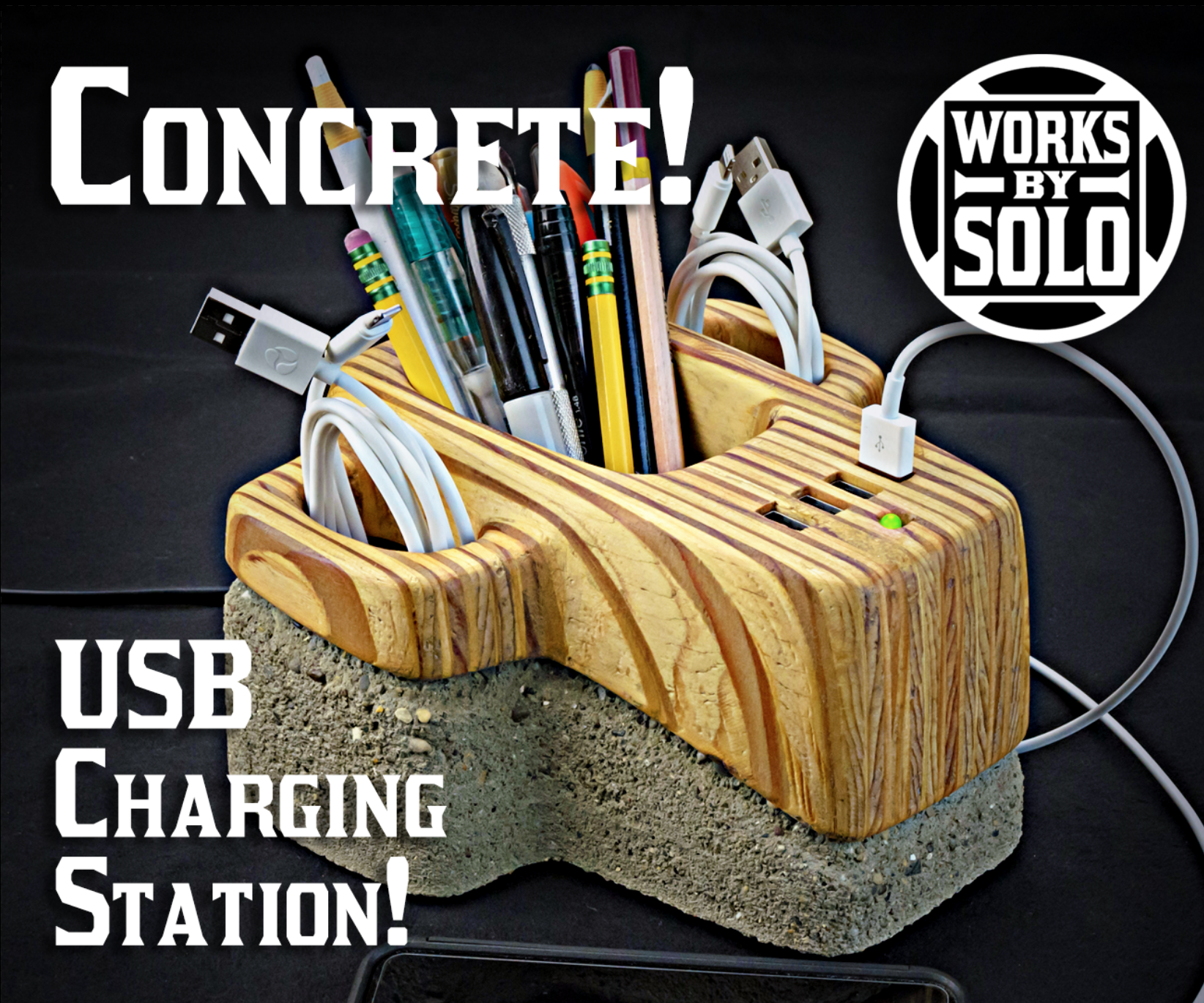 Concrete USB Charging Hub With Storage