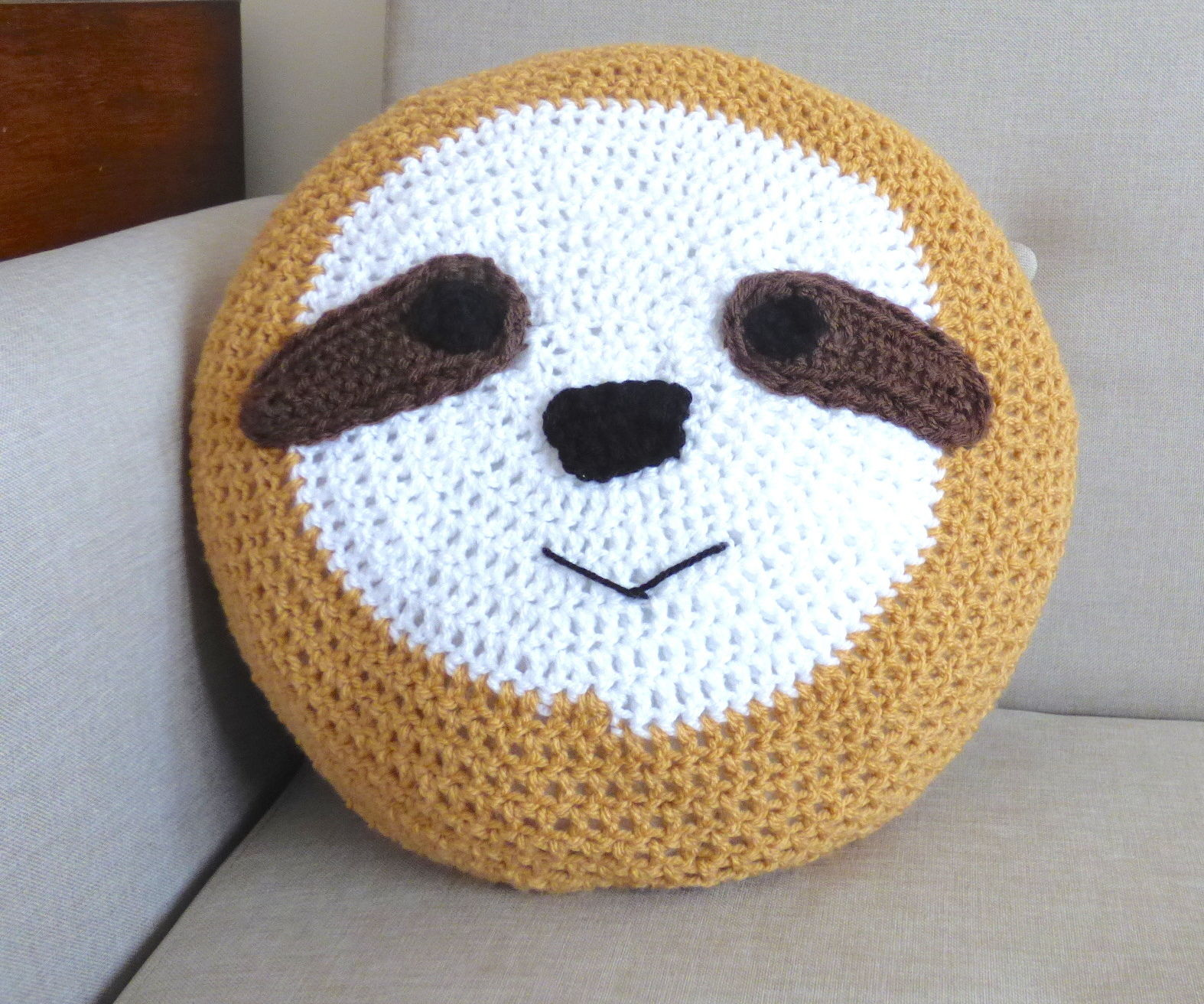 Crochet a Huggable Sloth Cushion