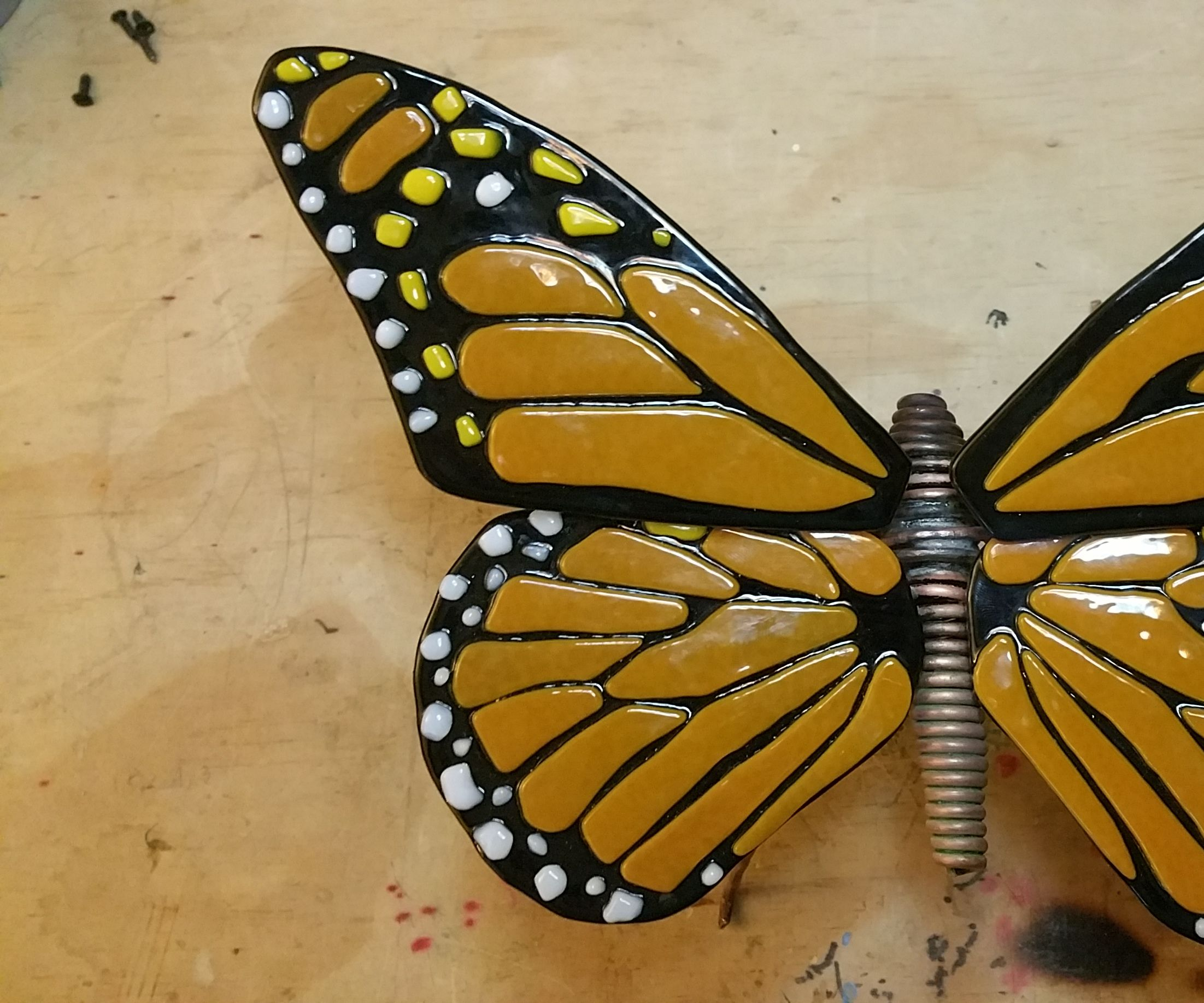 Copper Wire and Fused Glass Butterfly