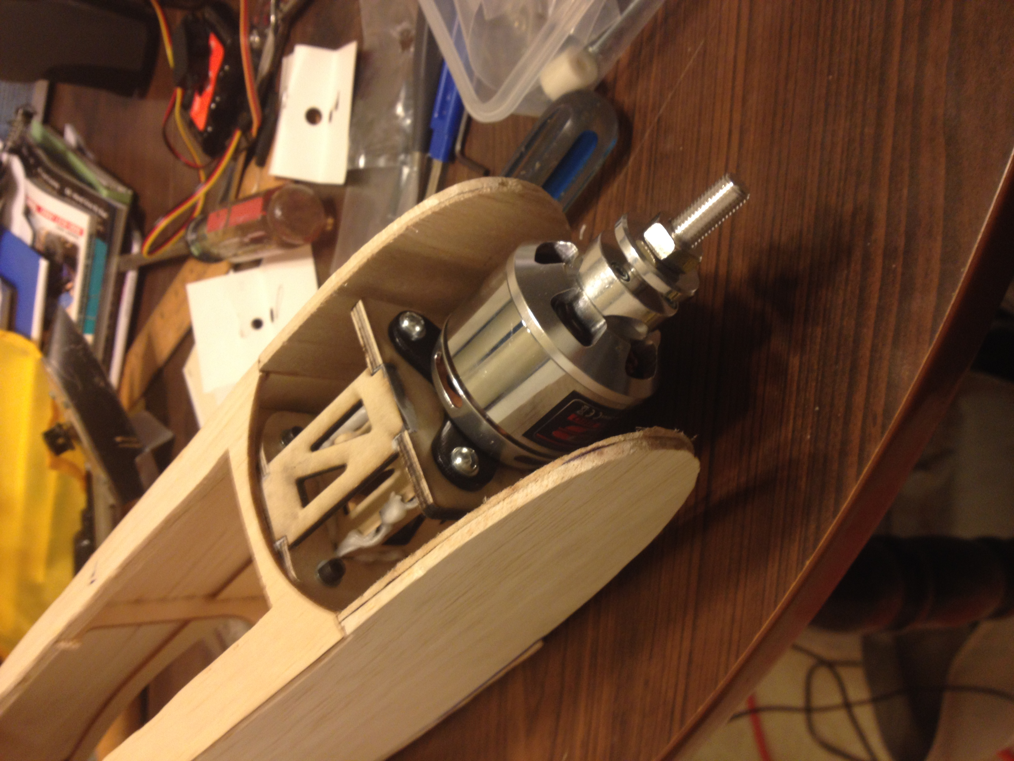 Motor mount box for radio control airplane.  I made it at Techshop