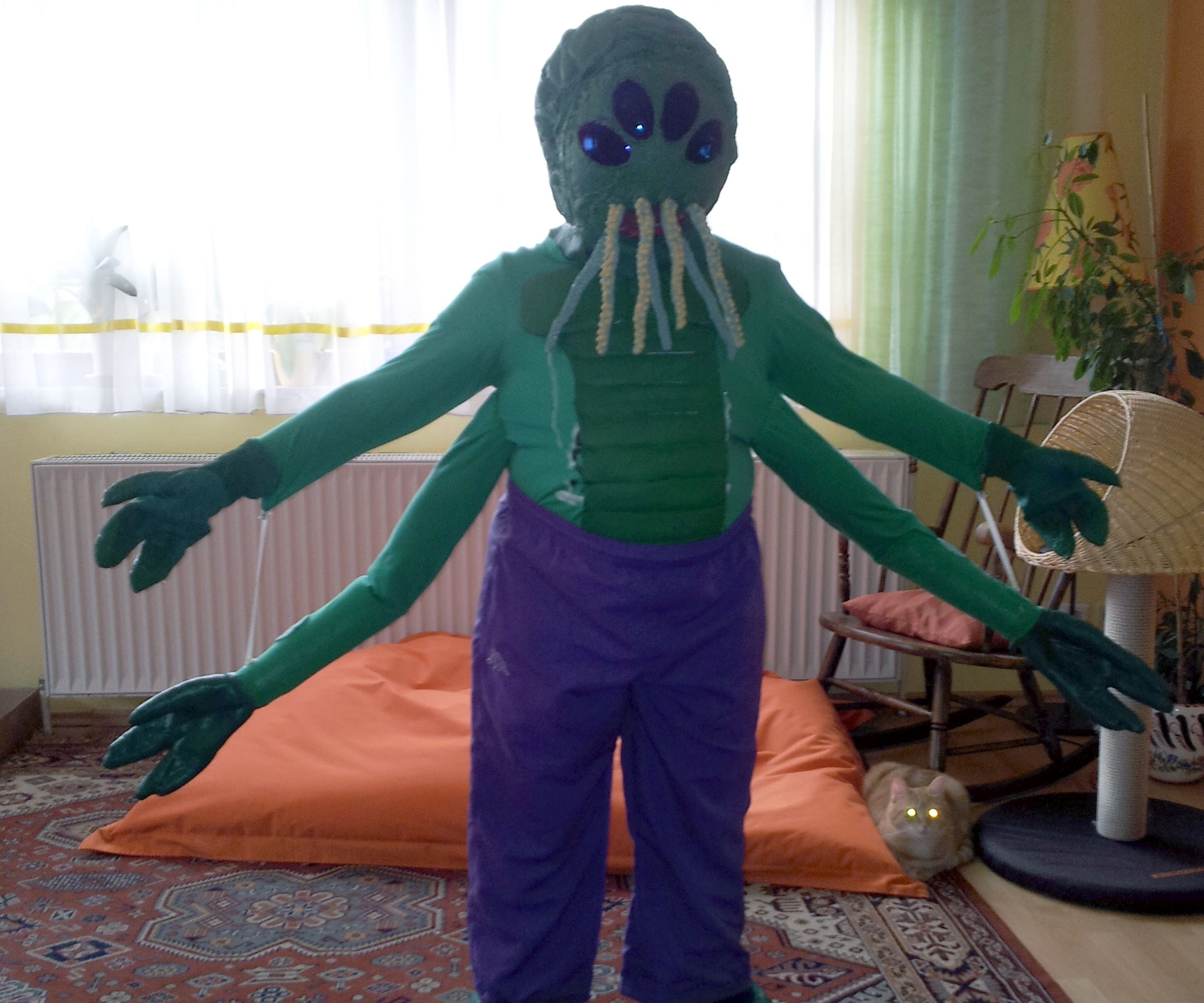 Tentacled four armed, four eyed alien costume.