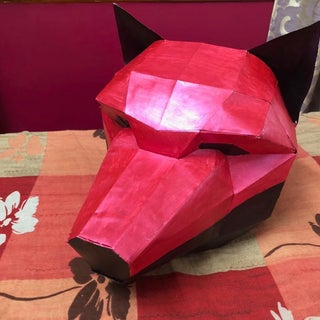 Papercraft Low Poly Wolf Mask