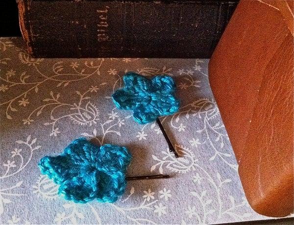 Crocheted Flower Hair Pins