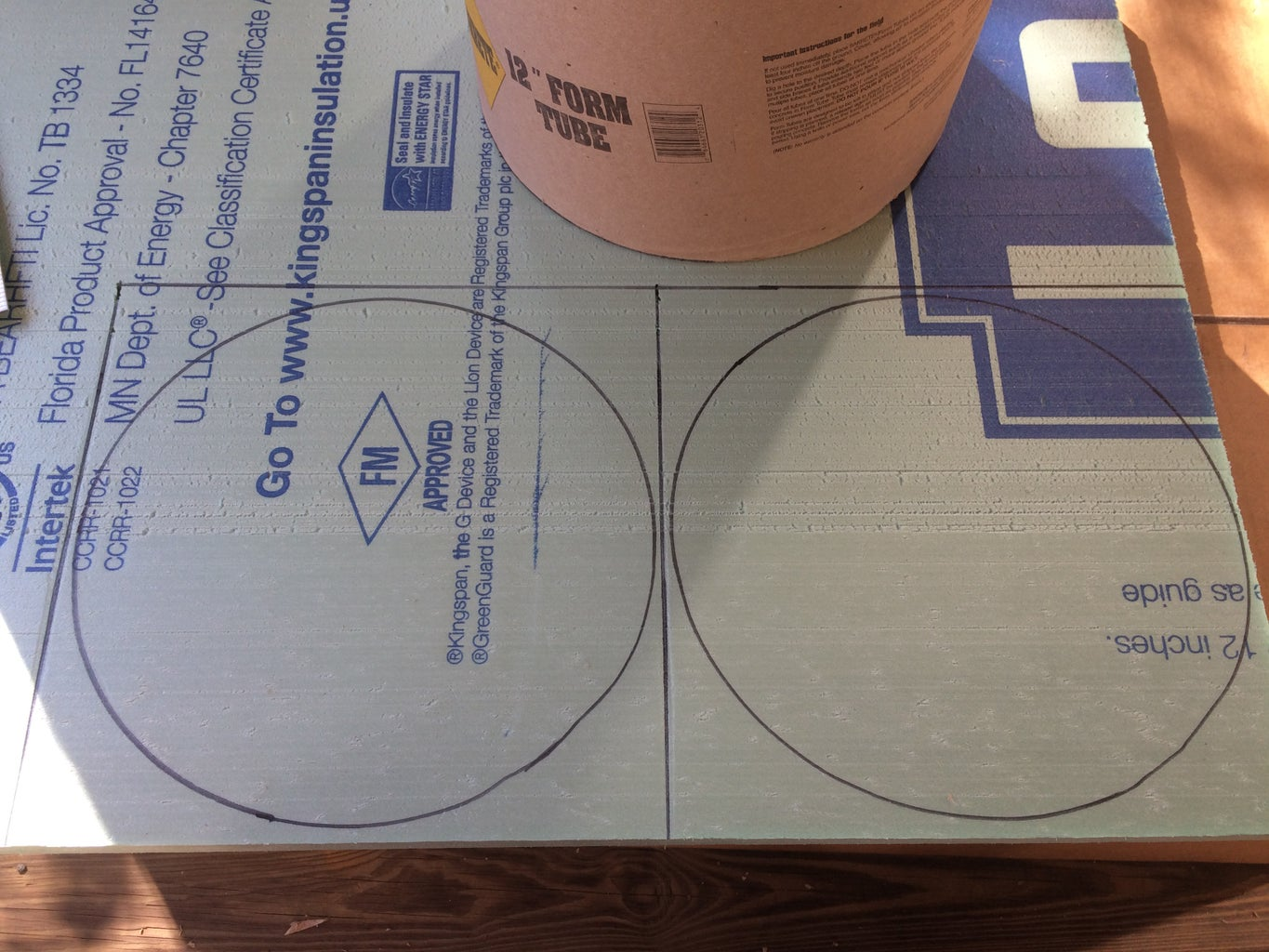Use the Head to Trace 2 Circles on the Insulation Board