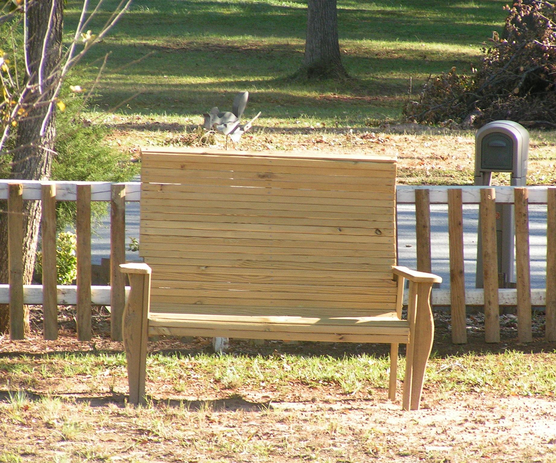wood yard bench