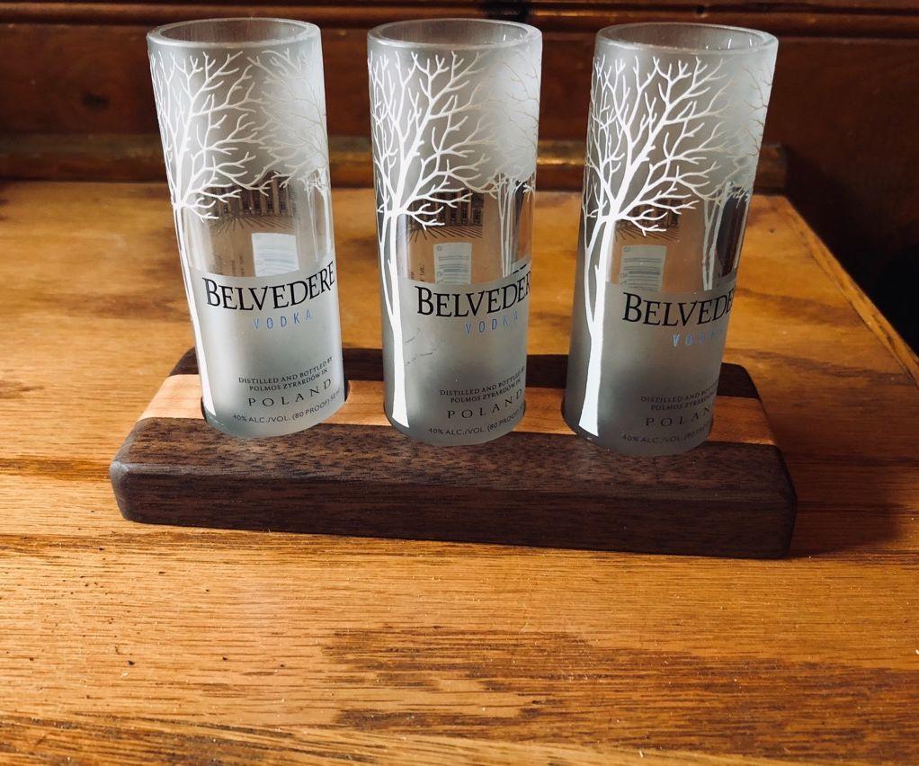 Belvedere Minibottle Shot Glass Flight in Walnut and Maple