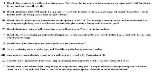 Ten Commandments of Soldering