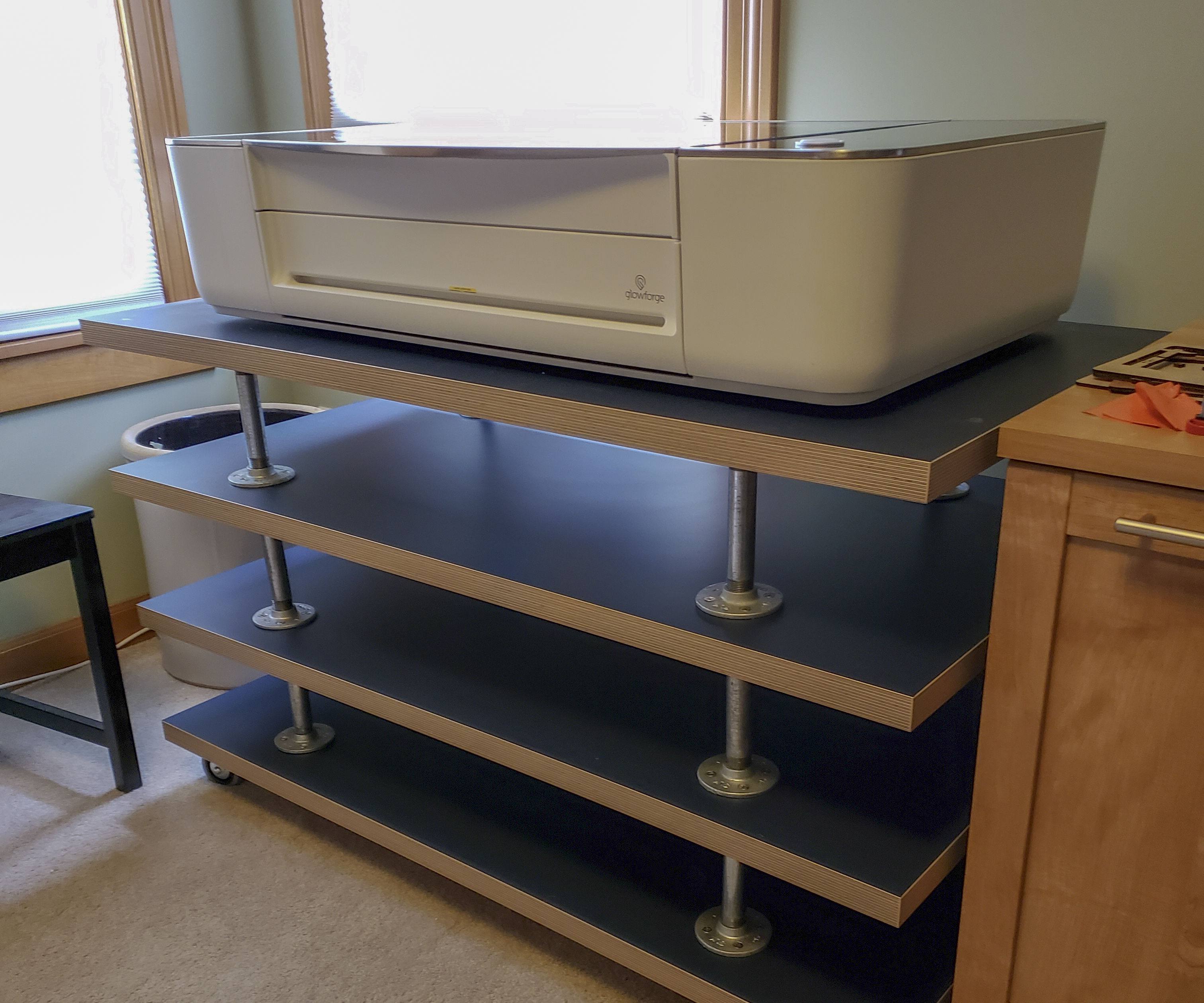 IKEA Tabletop Pipe Riser Multi-Level Glowforge Table