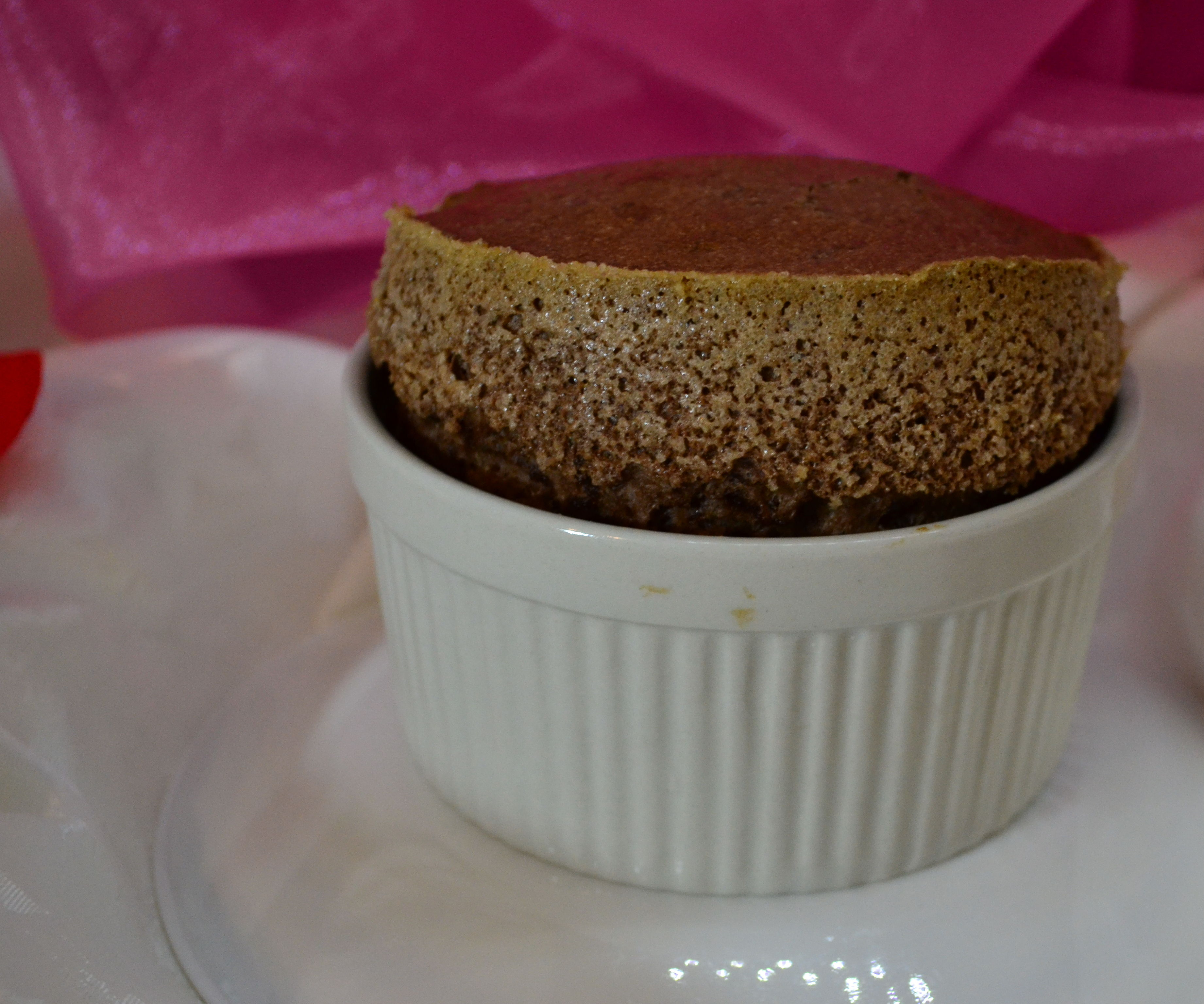 Chocolate Souffle with Rum Anglaise