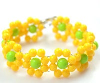 Spring Jewelry Design-How to Make a Beaded Yellow Flower Bracelet