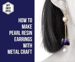 DIY Tutorial - How to Make Pearl Resin Earrings With Metal Craft!