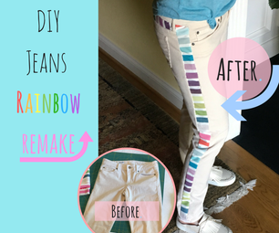 Rainbow Striped Jeans Remake