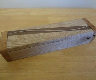 Striped Wood Pencil Box