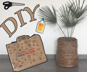 Decorative Basket Made of Shopping Cardboard Bags